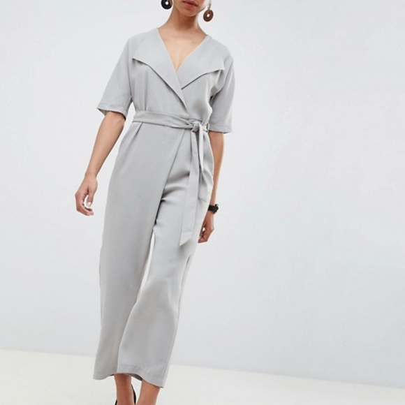 ASOS Petite Wrap Jumpsuit With Self Belt